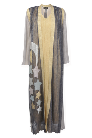 Twin Set Black Sheer Kimono with Stars with Gold Undergarmet
