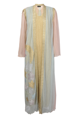 Twin Set Multicoloured Sheer Fabric Kimono with Stars and Gold Undergarmet
