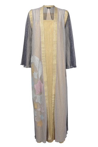 Twin Set Dark Sleeves Multicoloured Sheer Fabric Kimono with Stars and Gold Undergarmet