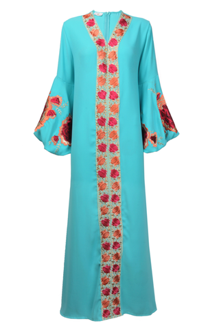 Turquoise Thobe with Red and Orange Floral Embroidery