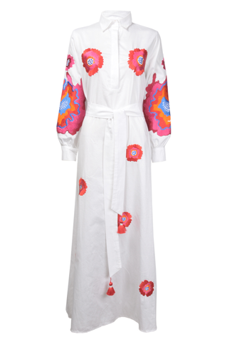 White Cotton Thobe with Floral Embroidery
