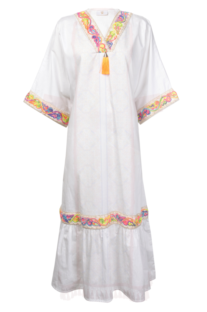 White Panelled Cotton Thobe