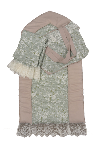 Olive Green and Pink Flowers Prayer Set with Sharshaf for Girls