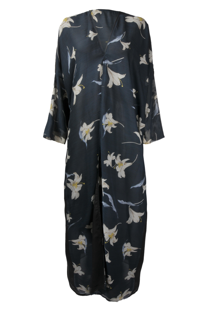 Navy Blue & White Floral Abaya
