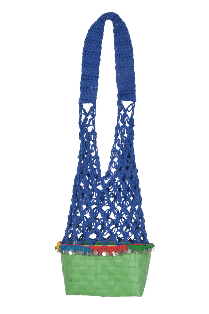 Blue / Green Crochet straw bag