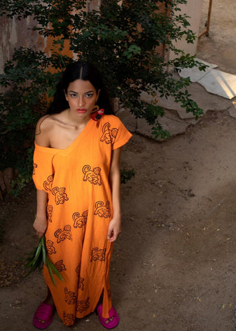 Orange Monkey Kaftan