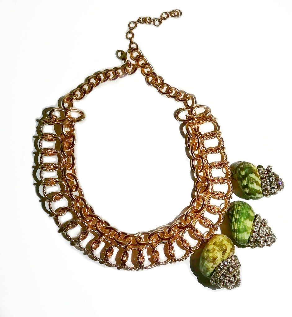Green Seashells Statements Necklace