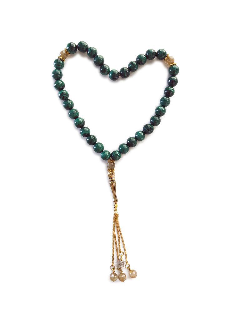 """Malachite and Gold Rutilated Quartz Subha"""