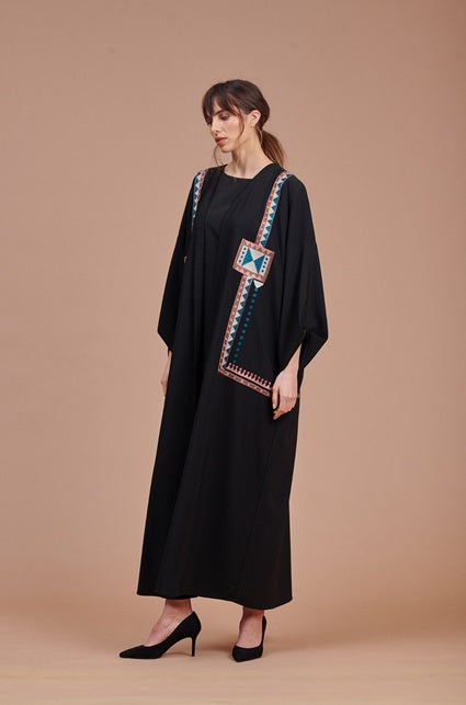 Black Abaya with Side Embroidery