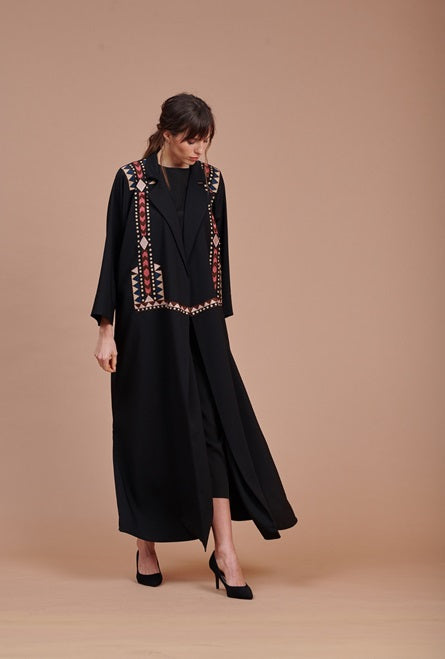 Black Abaya with Embroidered Vest Style