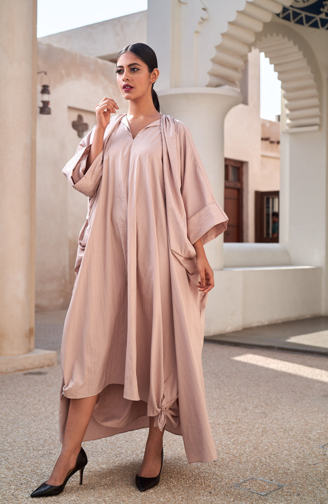 """Open Abaya with Gathered Placket"""
