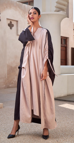 """Open Abaya with Ruching Knot On Sleeves"""