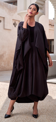 """Open Abaya with Tie Up Gathers On Sides"""