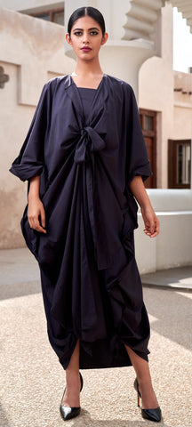 """Open Abaya with Tie Up Placket & Bottom"""
