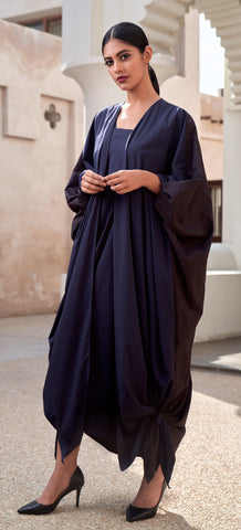 """Open Abaya with Tie Up Sleeve & Bottom"""