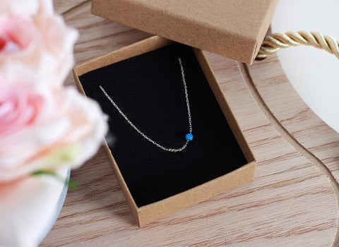 """Silver One Blue Ball Short Necklace"""