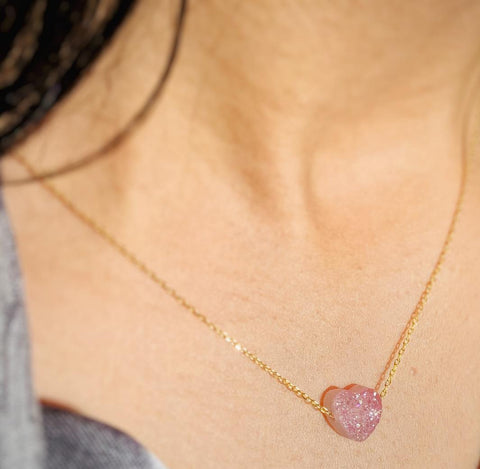 """Silver Gold Colour Pink Heart Shiny Stone Necklace"""