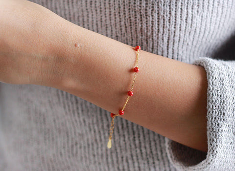 """Silver Gold Colour Red Ball Bracelet"""