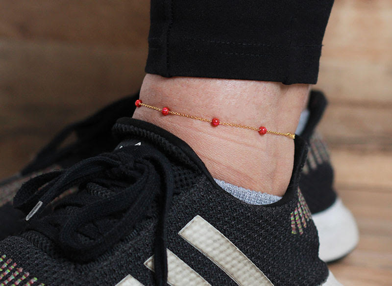 """Silver Gold Colour Red Balls Anklet"""