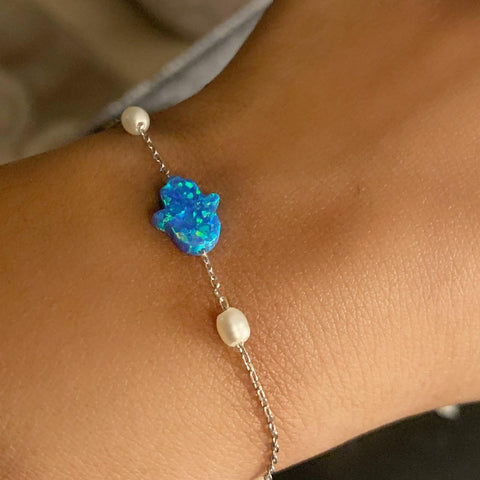 """Silver Blue Hand With Tow Pearls Bracelet"""