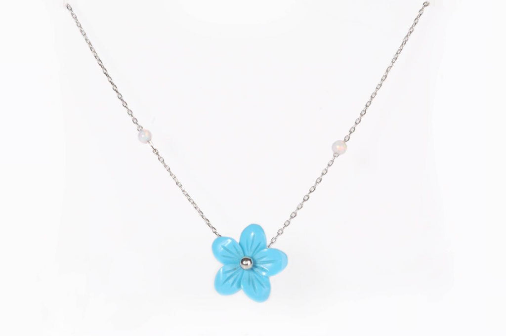 """Blue Flower With Synthic Opal Balls Necklace"""