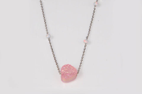 """Silver Pink Heart Shiny Stone With White Balls Necklace"""