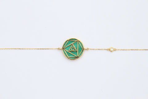"""Malachite Geometric Rose Bracelet"""