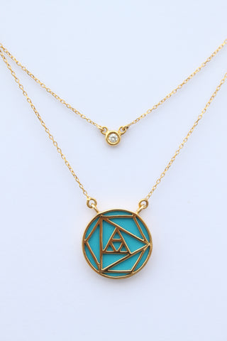 """Geometric Turquoise Rose Double Chain Necklace With One Diamond """