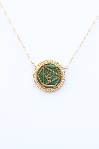 """Geometric Rose Necklace With Full Frame Diamonds"""