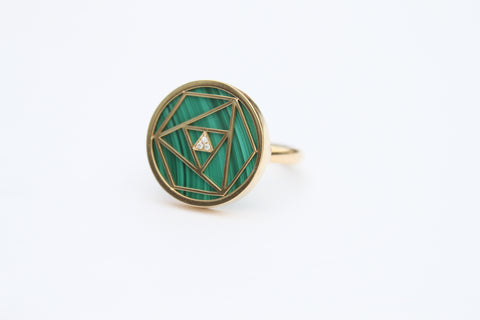 """Malachite Geometric Rose Ring"""