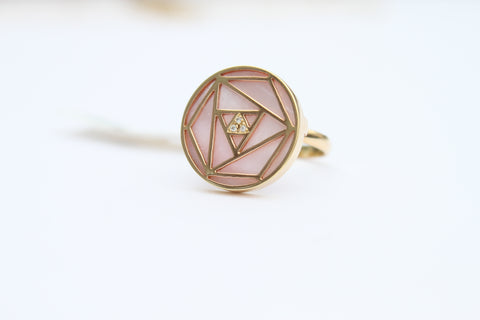 """Pink Mother Of Pearl Geometric Rose Ring"""