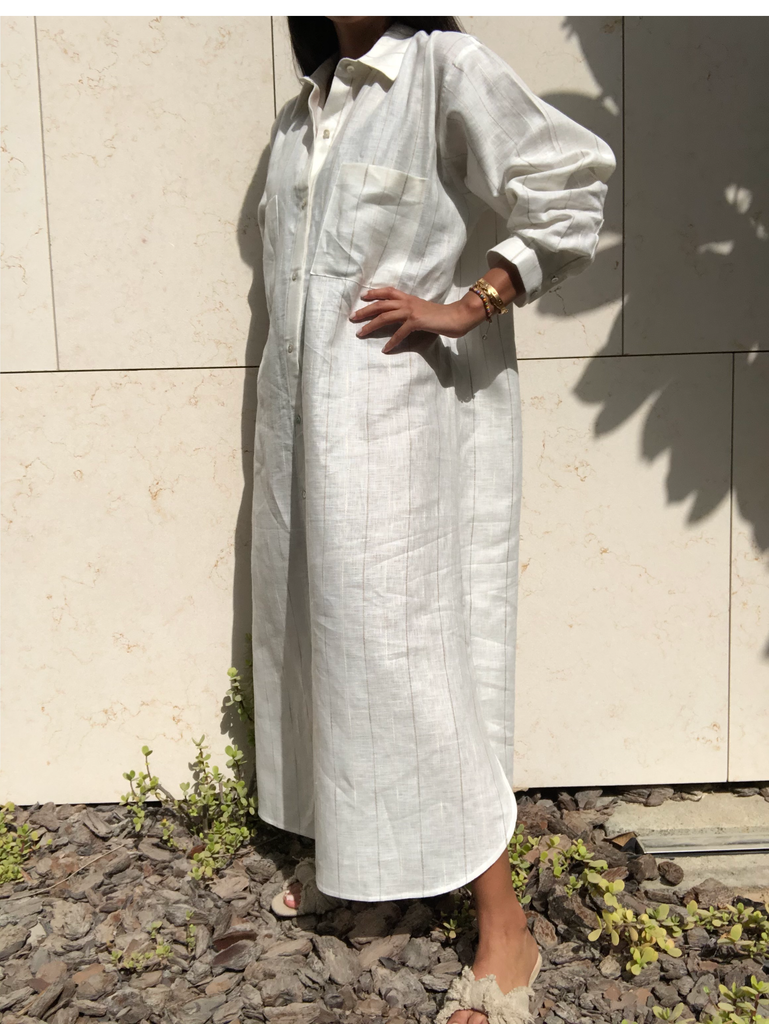 """Linen Shirt Dress (White)"""