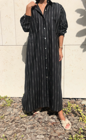"""Linen Shirt Dress (Black)"""