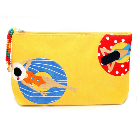 """Under the sun Yellow "" Beach Pouch"