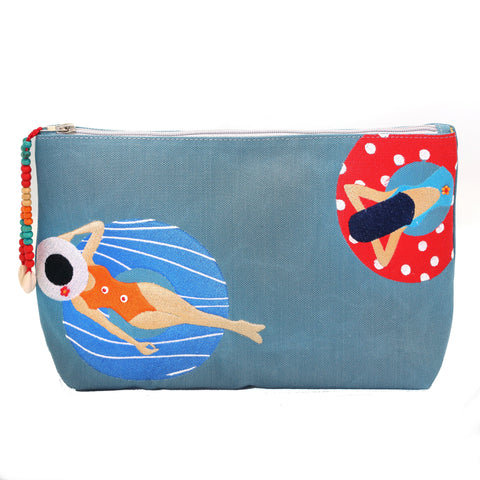 """Under the sun Blue"" Beach Pouch"