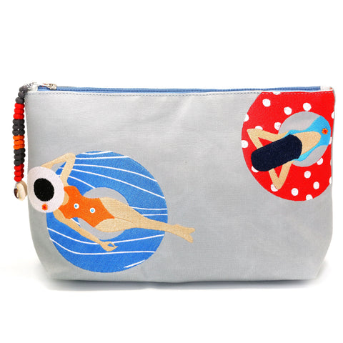 """Under the sun Grey"" Beach Pouch"