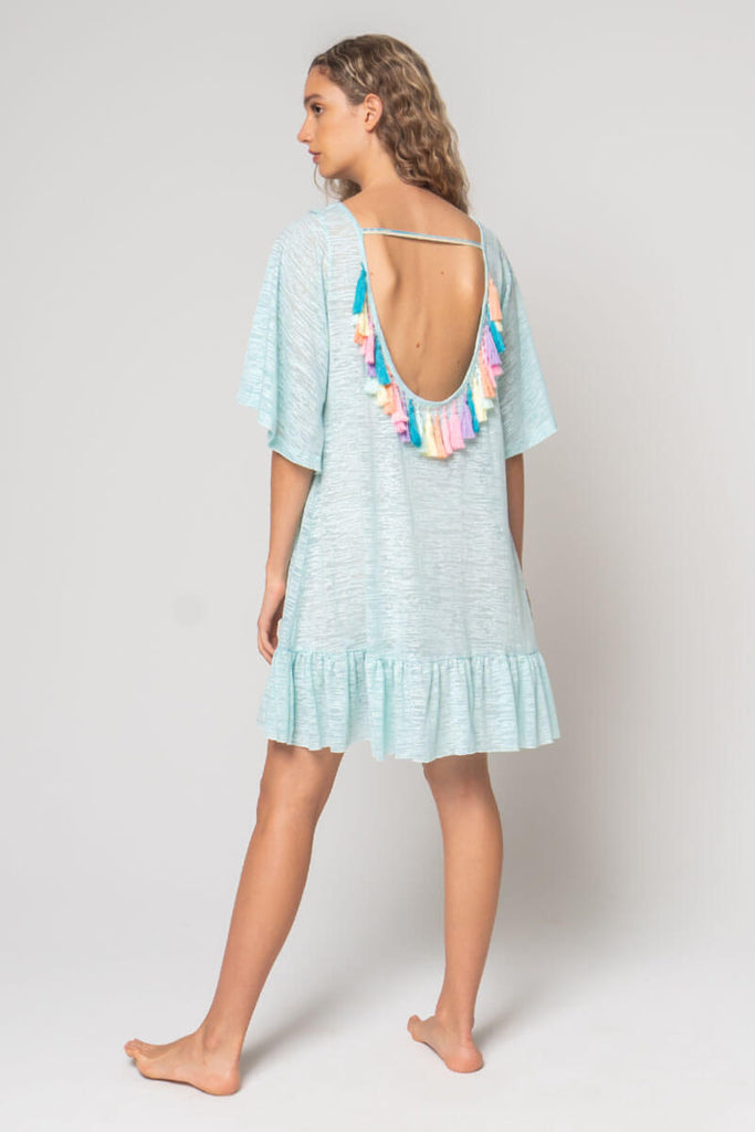 Aqua Tassel Back Mini Dress