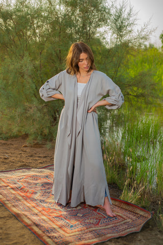 Light Grey Trench Abaya