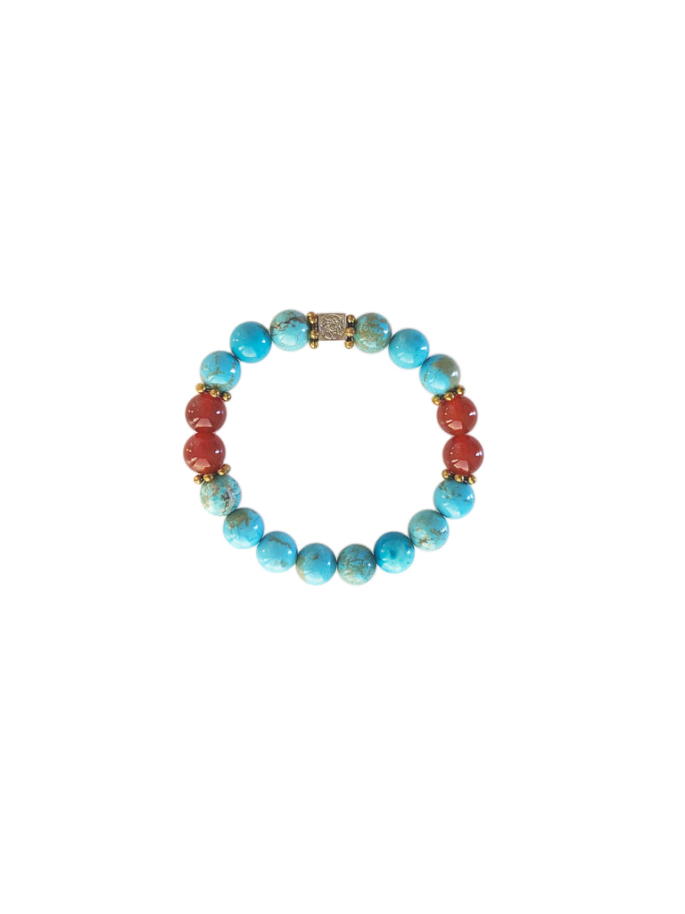 """Turquoise and Carnelian Bracelet"""