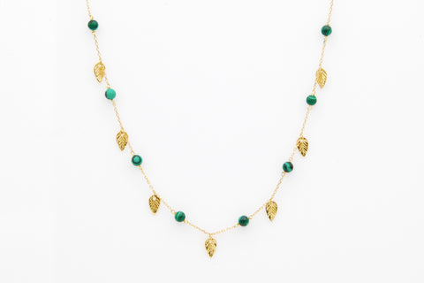 """Malachite Gold Leaves Choker"""