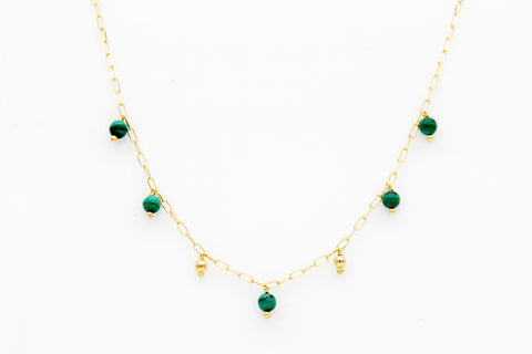 """Natural Malachite on Gold Choker"""