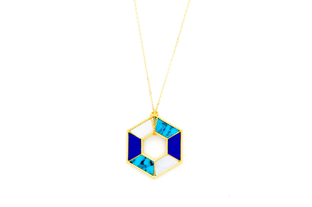 """Hexagon and Natural Stones Gold Necklace"""