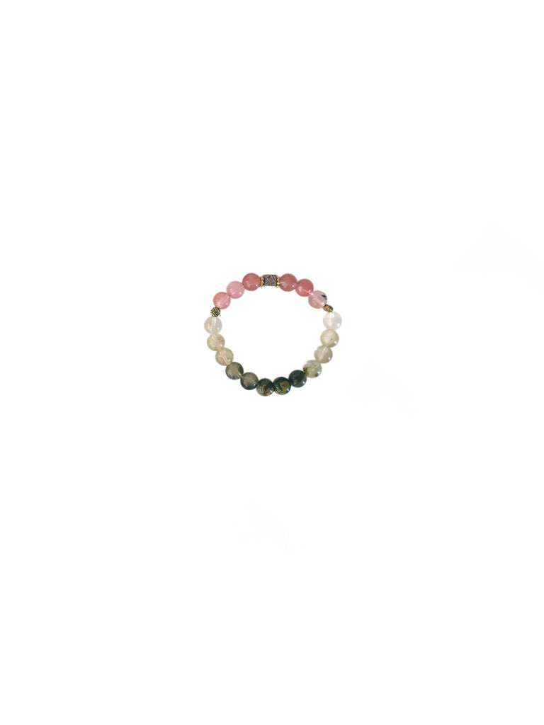 """Watermelon and Tourmaline Bracelet"""