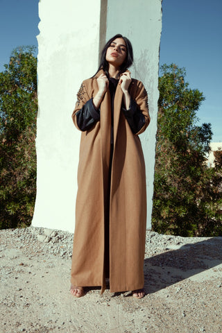 """Camel Wool with Leather Sleeves Abaya"""
