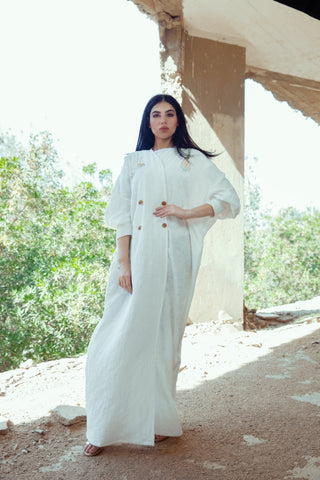"""White Linen Cotton Abaya"""