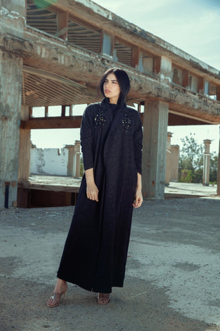 """Black Linen Cotton Abaya"""