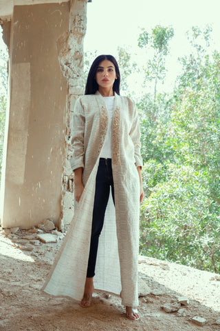 """Beige Cotton Linen Abaya with Embroidery on Collar"""