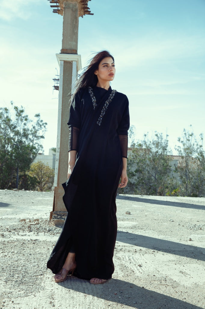"""Crepe Abaya Black with Embroidery on Collar"""