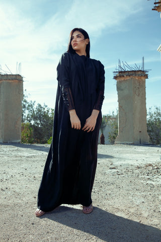 """Black Silk with Embroidery on Sleeves Abaya"""