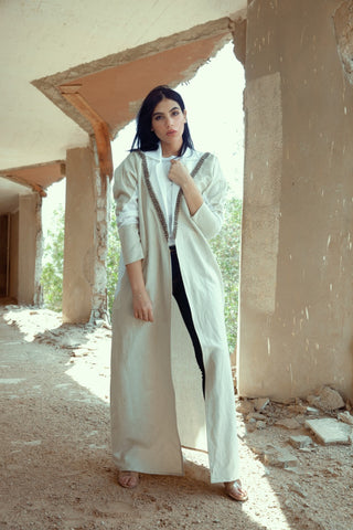 """White Signature Cut with Heavy Embroidery on Collor Abaya"""